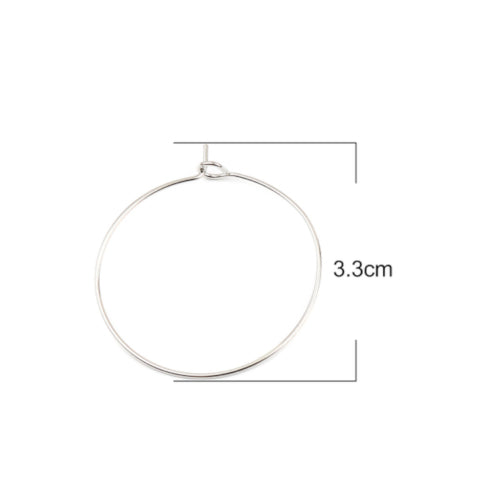 Earring Findings, Silver Tone, Alloy, 33mm, Round, Hoop. Sold Per Pair - BEADED CREATIONS