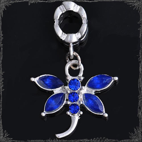 Charms, Dragonfly, Royal Blue, Slip On, Dangle, European Style, 31mm, Sold Individually - BEADED CREATIONS