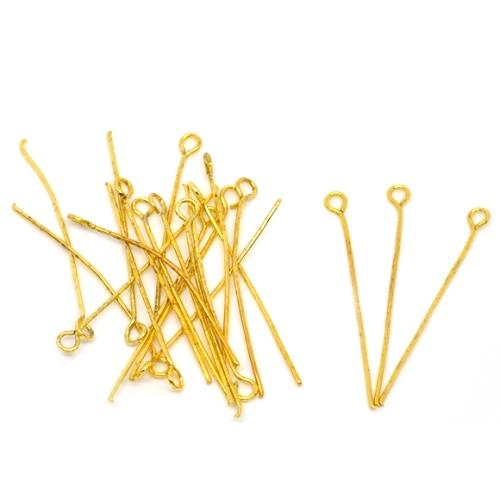 Eye Pins, Open, 21 Gauge, Gold Plated, Alloy, 3.5cm. Sold Per Pkg Of 5 - BEADED CREATIONS