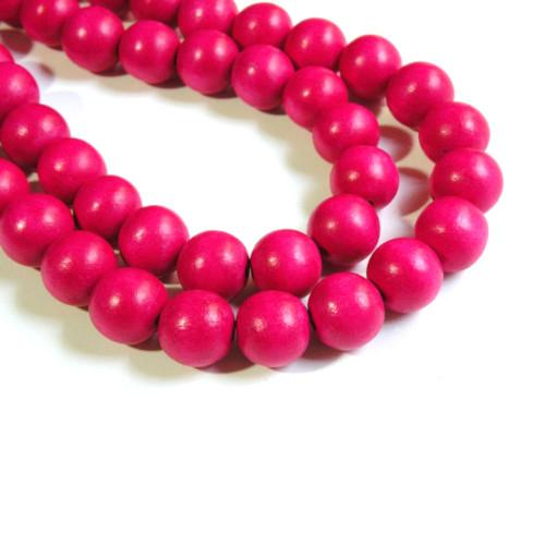Beads, Wood, Fuchsia, Round, 18mm. Sold Per Pkg Of 3 - BEADED CREATIONS