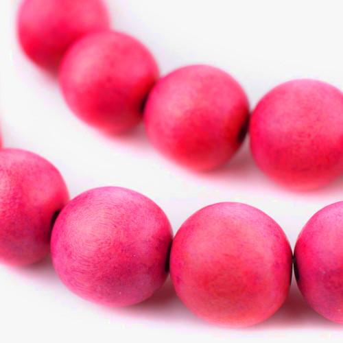 Beads, Wood, Fuchsia, Round, 30mm. Sold Individually - BEADED CREATIONS