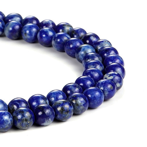 Gemstone Beads, Lapiz Lazuli, Deep Blue, Natural, Round, 6mm. Sold Per 40cm Strand - BEADED CREATIONS