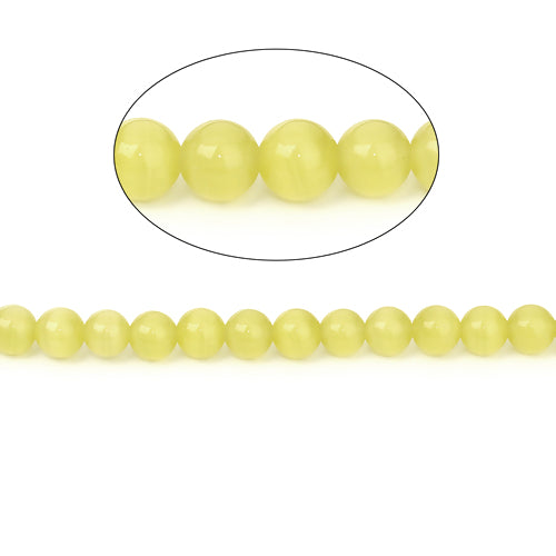 Glass Beads, Cat Eye, Fiber Optic, Yellow, Round, 10mm, Sold Individually