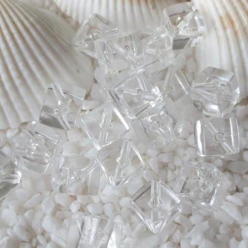 Glass Beads, Cube, Transparent, Clear, 7mm - BEADED CREATIONS