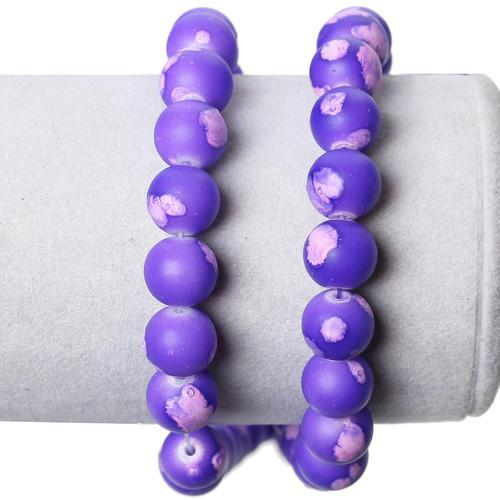 Glass Beads, Matte, Mottled, Round, Purple, Pink, 10mm. Sold Individually - BEADED CREATIONS