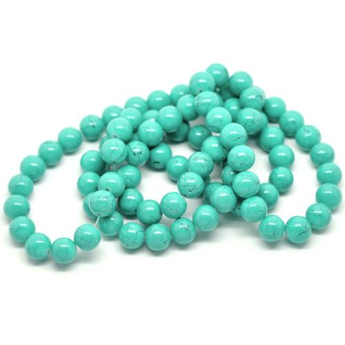Glass Beads, Opaque, Drawbench, Turquoise And Black, Round, 10mm. Sold Individually - BEADED CREATIONS