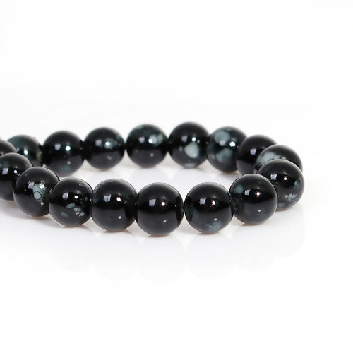 Glass Beads, Opaque, Mottled, Black, White, Round, 8mm. Sold Individually - BEADED CREATIONS