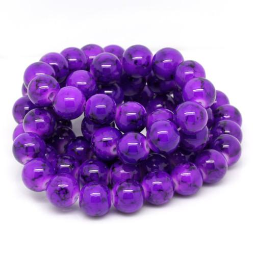 Glass Beads, Opaque, Mottled, Round, Purple, Black, 12mm. Sold Individually - BEADED CREATIONS