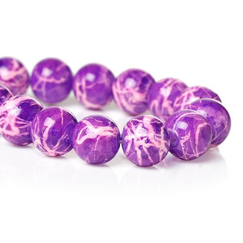 Glass Beads, Opaque, Mottled, Round, Purple, Pink, 8mm. Sold Individually - BEADED CREATIONS