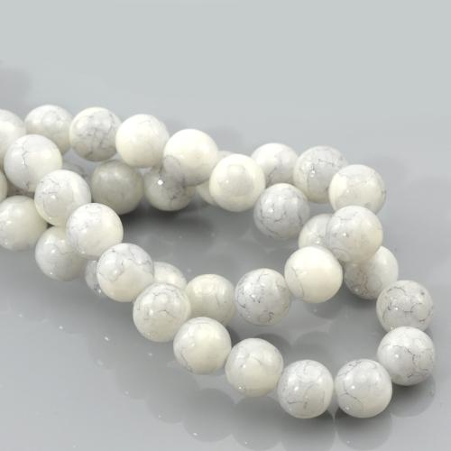 Glass Beads, Opaque, Mottled, Round, White, Grey, 8mm. Sold Individually - BEADED CREATIONS