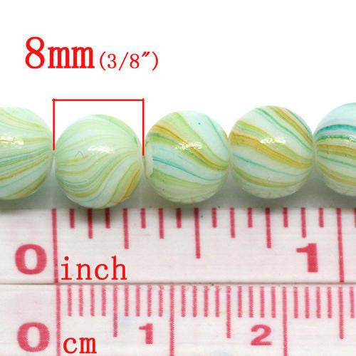 Glass Beads, Opaque, Striped, Pastel Green, 8mm. Sold Individually - BEADED CREATIONS