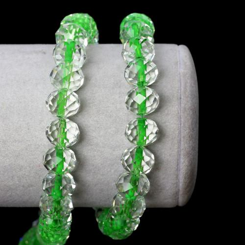 Glass Beads, Rondelle, Faceted, Transparent, Color Lined, Green, 10mm, Sold Individually - BEADED CREATIONS