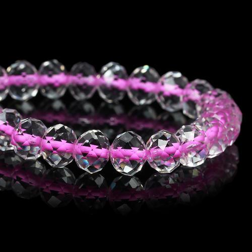 Glass Beads, Rondelle, Faceted, Transparent, Color Lined, Hot Pink, 10mm, Sold Individually - BEADED CREATIONS