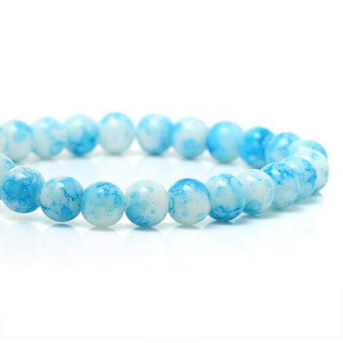 Glass Beads, Round, Opaque, Mottled, White, Sky Blue, 8mm. Sold Per Strand - BEADED CREATIONS
