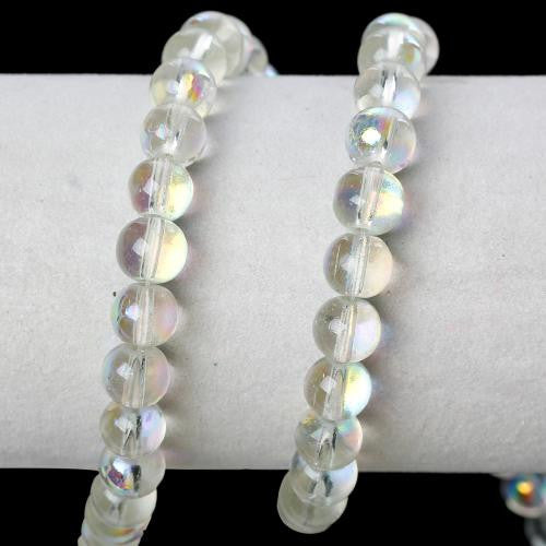 Glass Beads, Round, Transparent, AB, Clear, 8mm. Sold Individually - BEADED CREATIONS
