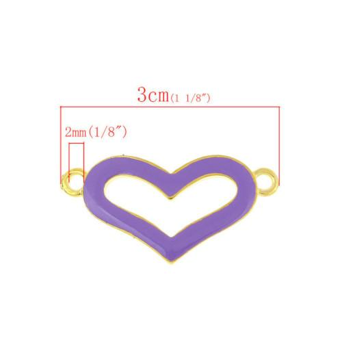 Gold And Purple Plated Open Heart Connector Links 3cm - BEADED CREATIONS