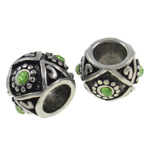 Green Rhinestone Engraved Large Hole Barrel Charm Beads - BEADED CREATIONS