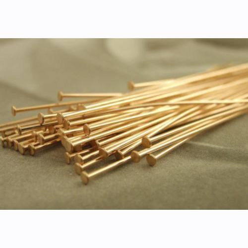 Head Pins, Gold Plated, 20 Gauge, Alloy, 7cm. Sold Per Pkg of 5 - BEADED CREATIONS