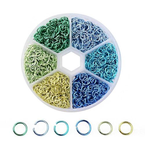Jump Rings, Aluminum, Blues, Greens, Round, Open, Variety Pack, 6mm. Sold Per Container - BEADED CREATIONS