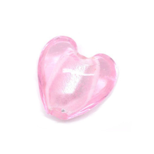 Lampwork Glass Beads, Heart, Puffed, Pink, Silver Foil, 20mm. Sold Individually - BEADED CREATIONS