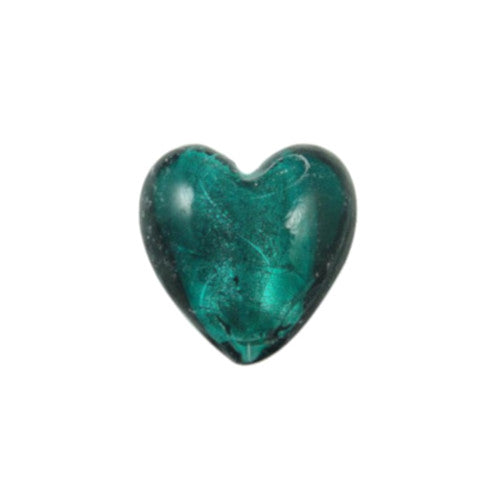 Lampwork Glass Beads, Heart, Puffed, Teal, Silver Foil, 13mm. Sold Individually - BEADED CREATIONS