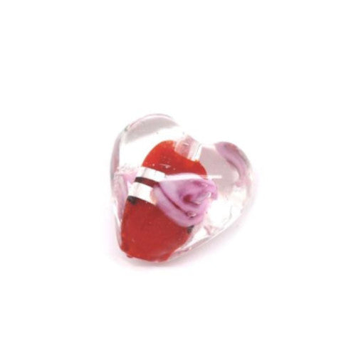 Lampwork Glass Beads, Heart, Puffed, Transparent, Red, Pink, Silver Foil, 13mm. Sold Individually - BEADED CREATIONS