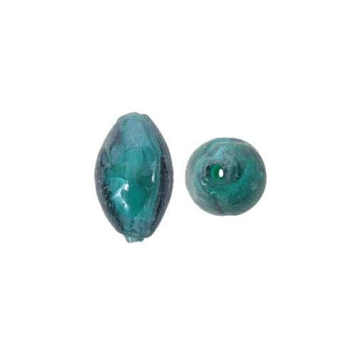 Lampwork Glass Beads, Oval, Barrel, Tapered, Teal, Silver Foil, 17mm. Sold Individually - BEADED CREATIONS
