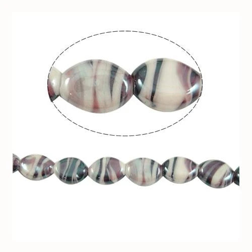 Lampwork Glass Beads, Oval, Opaque, Marbled, Purple, 14mm. Sold Individually - BEADED CREATIONS
