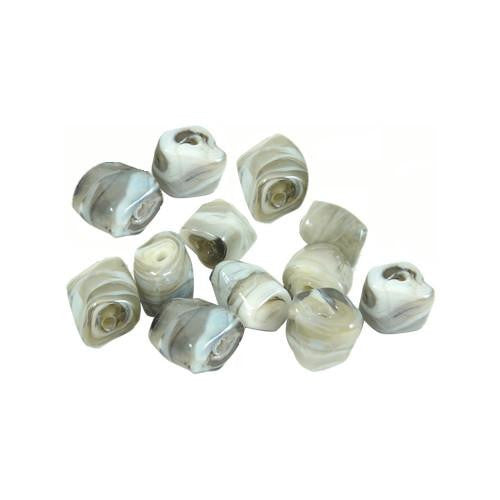 Lampwork Glass Beads, Rectangle, Domed, Opaque, Marbled, Grey, 14mm. Sold Individually - BEADED CREATIONS