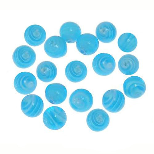 Lampwork Glass Beads, Round, Opaque, Marbled, Blue, 10mm. Sold Individually - BEADED CREATIONS