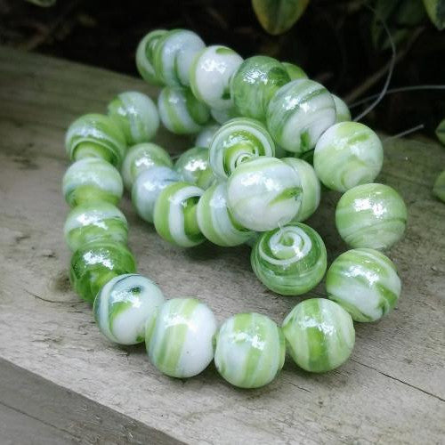 Lampwork Glass Beads, Round, Opaque, Marbled, Green, 12mm. Sold Individually - BEADED CREATIONS