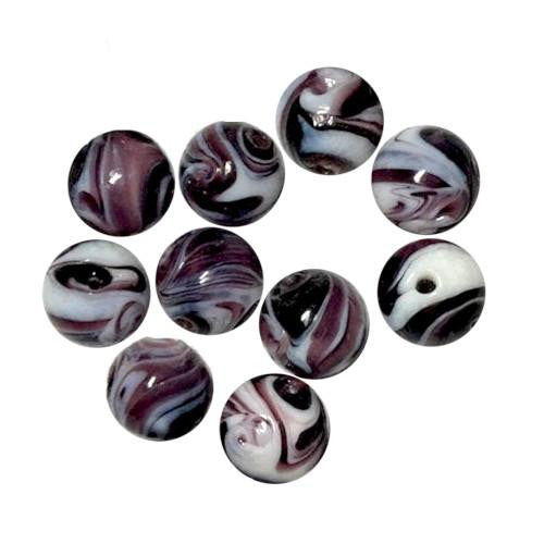 Lampwork Glass Beads, Round, Opaque, Marbled, Purple, 12mm. Sold Individually - BEADED CREATIONS