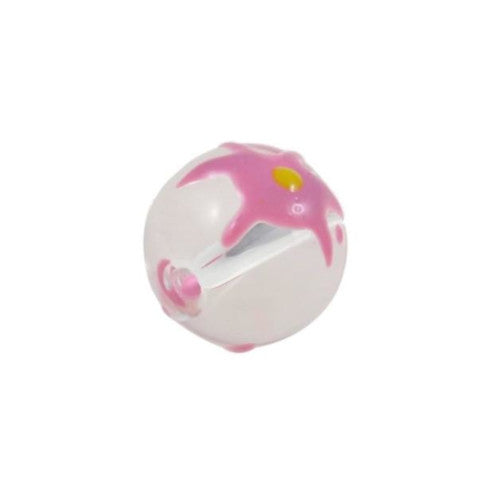 Lampwork Glass Beads, Round, Opaque, Pink, Yellow, Floral, Hand Painted, 14mm. Sold Individually - BEADED CREATIONS