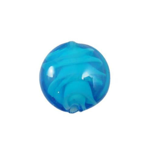 Lampwork Glass Beads, Round, Puffed, Lentil, Blue, Swirls, 15mm. Sold Individually - BEADED CREATIONS