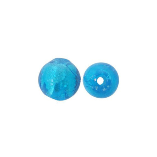 Lampwork Glass Beads, Round, Silver Foil, Blue, 12mm. Sold Individually - BEADED CREATIONS