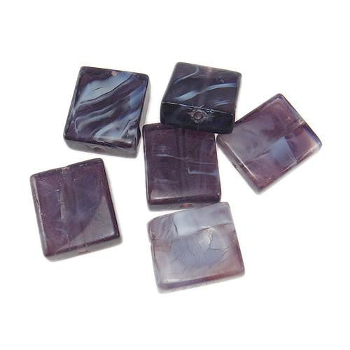 Lampwork Glass Beads, Square, Opaque, Marbled, Purple, 14mm. Sold Individually - BEADED CREATIONS