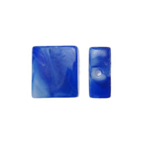 Lampwork Glass Beads, Square, Opaque, Marbled, Royal Blue, 14mm. Sold Individually - BEADED CREATIONS