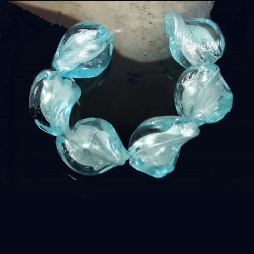 Lampwork Glass Beads, Twisted, Semitransparent, Silver Foil, Light Blue, 30mm. Sold Individually - BEADED CREATIONS