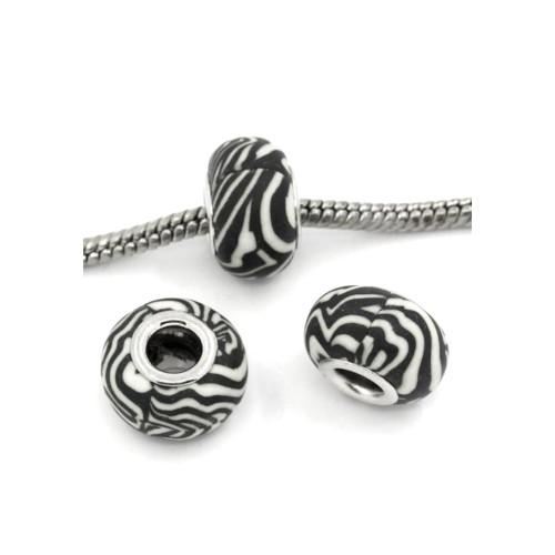 Large Hole Polymer Clay Charm Beads Black And White Stripes - BEADED CREATIONS