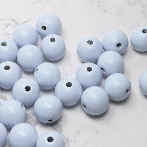 Beads, Wood, Light Blue, Round, 24mm, Sold Individually - BEADED CREATIONS