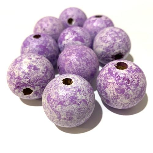 Beads, Wood, Round, Lilac, Color Washed, 24mm, Sold Individually - BEADED CREATIONS