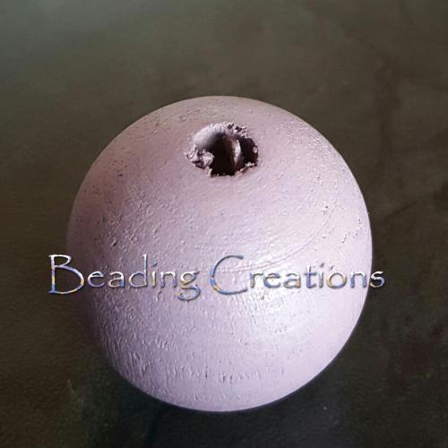 Beads, Wood, Round, Lilac, 30mm. Sold Individually - BEADED CREATIONS