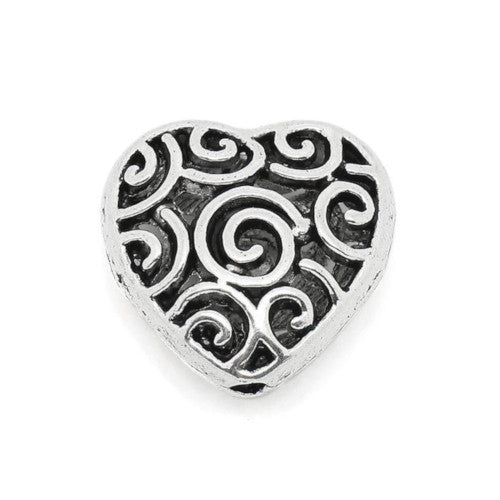 Metal Beads, Heart, Scroll, Puffy, Antique Silver, Alloy, 15mm, Sold Individually - BEADED CREATIONS