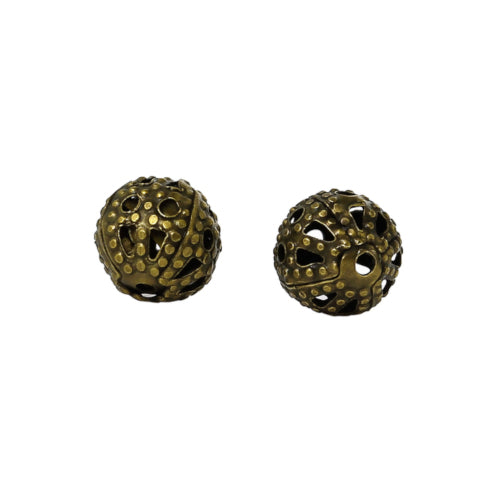 Metal Spacer Beads, Antique Bronze, Round, Ornate, Filigree, 6mm, Sold Individually - BEADED CREATIONS