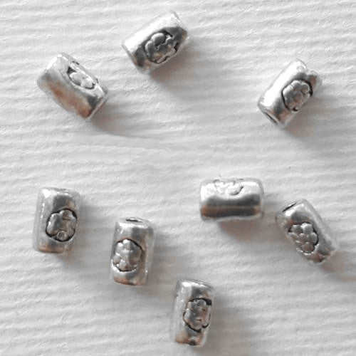 Metal Spacer Beads, Barrel, Engraved, Floral Design, Silver Tone, 5mm, Sold Per Pkg Of 13 - BEADED CREATIONS