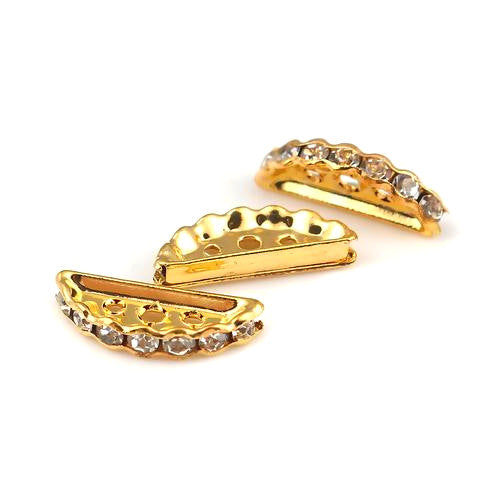 Metal Spacer Beads, Bridge Spacers, 3 Strand, Gold Plated, Alloy, Crystal Rhinestones, Half Moon, 19mm. Sold Individually - BEADED CREATIONS