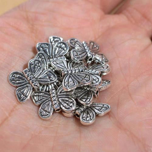 Metal Spacer Beads, Butterfly, Silver Tone, Alloy 14mm, Sold Individually - BEADED CREATIONS