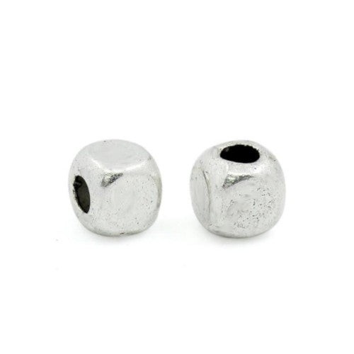 Metal Spacer Beads, Cube, Silver Tone, Alloy, 4mm, Sold Individually - BEADED CREATIONS