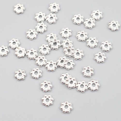 Metal Spacer Beads, Daisy, Silver-Plated, Alloy, 8mm, Sold Per Packet Of 20