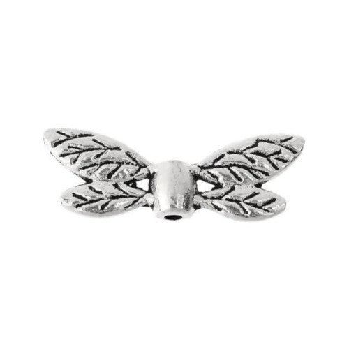 Metal Spacer Beads, Dragonfly, Wings, Double-Sided, Antique Silver, Alloy, 22mm, Sold Individually